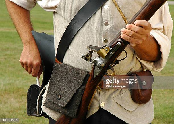 Colonial Military Re-Enactor Prepares Musket