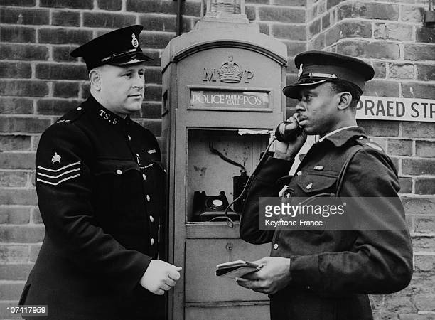 Colonial Police Undergoing Courses At Hendon Police College The Use Of A Police Call Box In London On March 17Th 1950