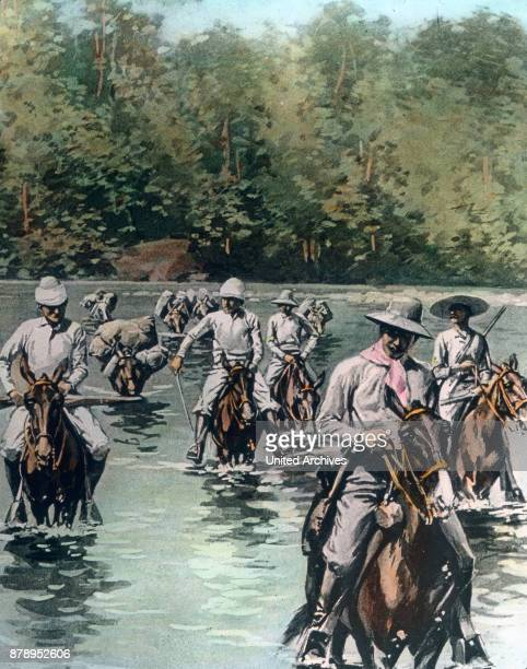 Colonial rulers in their attempt to wipe out white spots on maps ride through a river