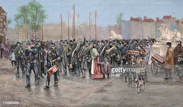 Colonialism 19th century Holland Rotterdam Troops destined for the Dutch colonies in India Kellenbach Engraving for 'The Artistic Illustration' 1886...