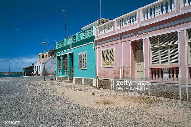 Colonialstyle houses in Sal Rei island of Boa Vista Cape Verde archipelago