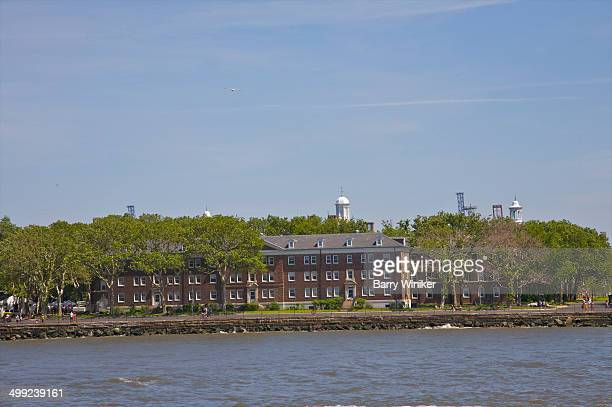 Colonial-style waterside buildings on island