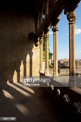 Colonnaded courtyard of Olite castle
