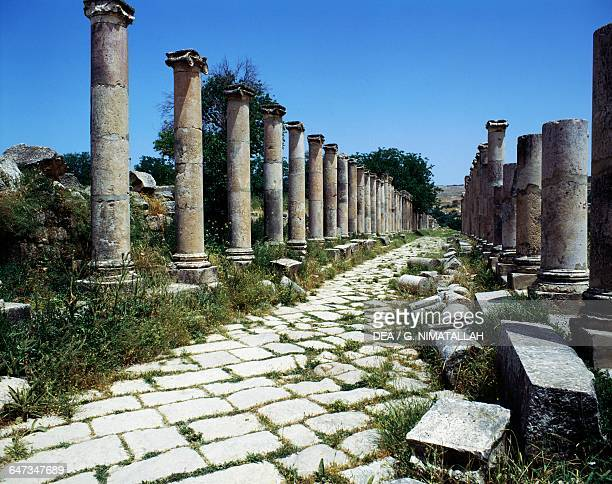 Colonnaded street Jerash Jordan Roman civilisation