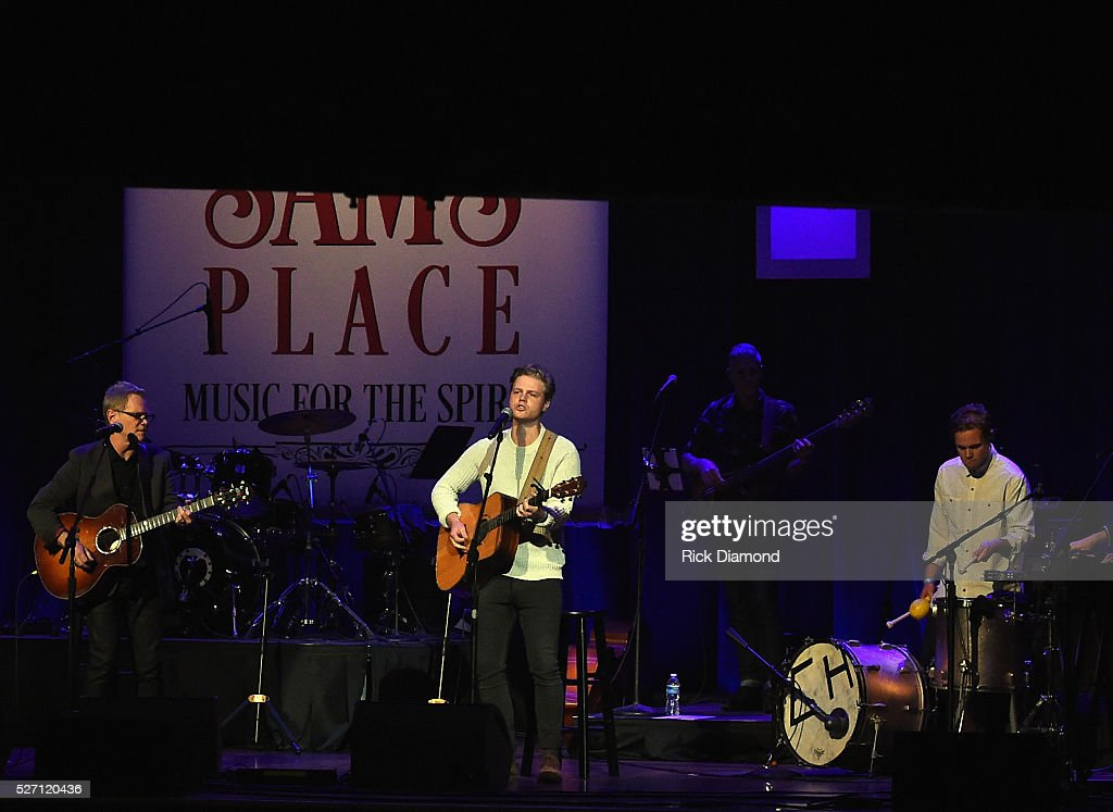 Colony House joins <a gi-track='captionPersonalityLinkClicked' href=/galleries/search?phrase=Steven+Curtis+Chapman&family=editorial&specificpeople=828220 ng-click='$event.stopPropagation()'>Steven Curtis Chapman</a> during Sam's Place - Music For The Spirit - May 1, 2016 at Ryman Auditorium in Nashville, Tennessee.
