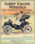 Color advertisement depicts a Baker Electric automobile the Baker Queen Victoria driven by a young woman seated next to a small dog as they drive...