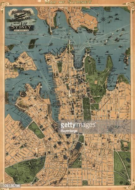 Color aeroplane map of Sydney Australia 1922 Illustration by HEC Robinson