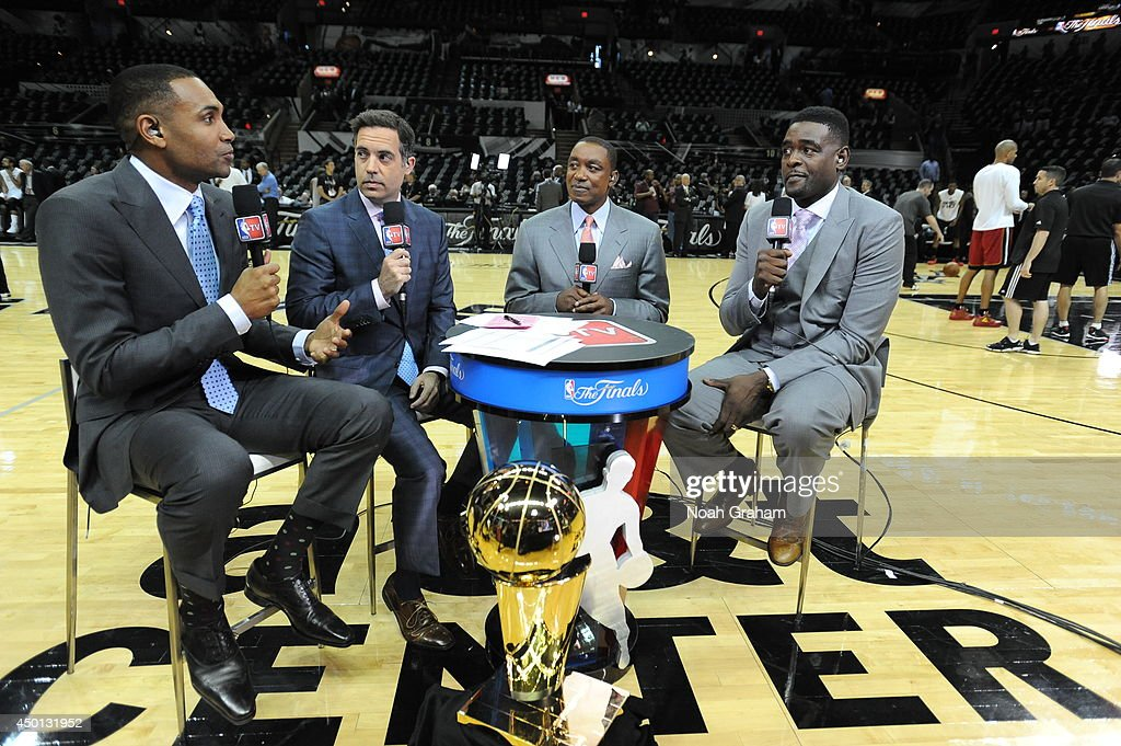 NBA TV color analysts <a gi-track='captionPersonalityLinkClicked' href=/galleries/search?phrase=Grant+Hill+-+Basketball+Player&family=editorial&specificpeople=201658 ng-click='$event.stopPropagation()'>Grant Hill</a>, <a gi-track='captionPersonalityLinkClicked' href=/galleries/search?phrase=Matt+Winer&family=editorial&specificpeople=7033466 ng-click='$event.stopPropagation()'>Matt Winer</a>, Isiah Thomas and <a gi-track='captionPersonalityLinkClicked' href=/galleries/search?phrase=Chris+Webber&family=editorial&specificpeople=201510 ng-click='$event.stopPropagation()'>Chris Webber</a> broadcast during Game One of the 2014 NBA Finals at AT&T Center on June 5, 2014 in San Antonio, Texas.