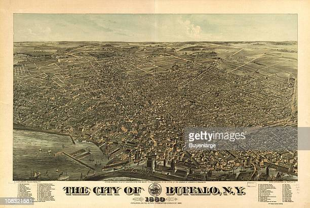 Color bird's eye view map of Buffalo New York 1880 The waters of Lake Erie are visible in the lower left Illustration by Edward Howard Hutchinson