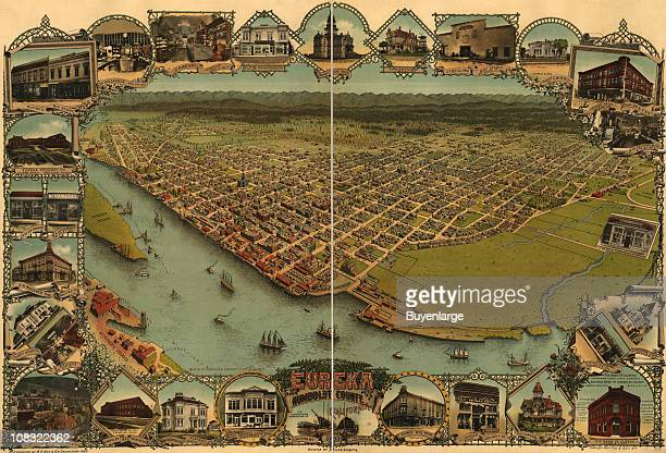 Color bird's eye view map of Eureka in Humboldt County California 1902 Illustration by AC Noe GR Georgeson