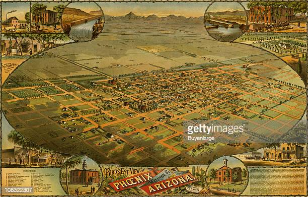 Color bird's eye view map of Phoenix Arizona 1885 Illustration by CJ Dyer
