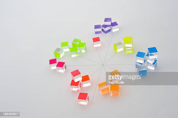 Color blocks arranged on the diagram