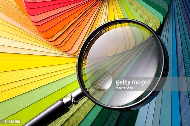 Color card with magnifying glass