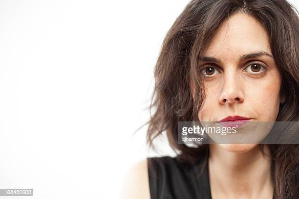 Color Close Up  Attractive Long Haired Woman Serious White Background