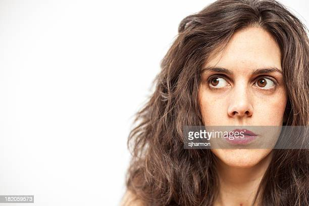 Color Close Up Beautiful Long Haired Woman Serious White Background