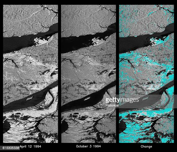 Color composite radar images of Manaus region of Brazil taken from the Spaceborne Imaging RadarC and Xband Synthetic Aperture Radar aboard Space...
