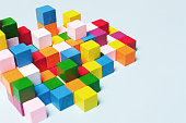 Color cubes in the puzzle. Concept creative, logical thinking, art,Creativity inspiration.Geometric  background