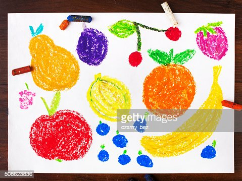 Color drawing: miscellaneous types of fruits : Stock Photo