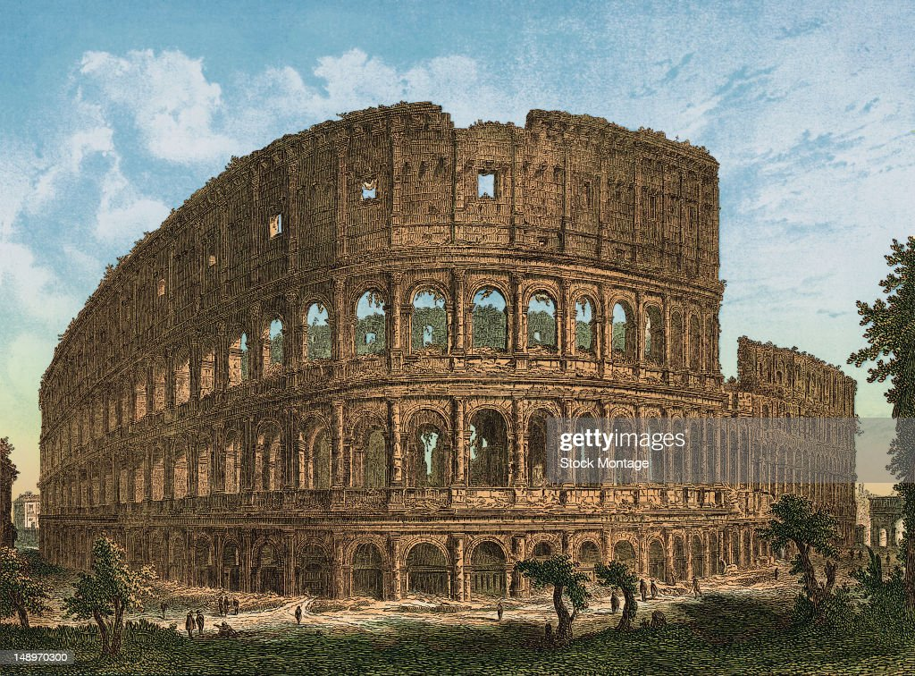 Color engraving of the Colosseum ruins in Rome Italy 1757 The Colosseum was commissioned by Emperor Vespasian in 72 AD and completed by his son Titus...