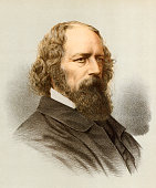 Color engraving portrait of English poet Alfred Lord Tennyson mid to late 19th century