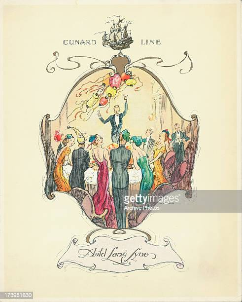 Color front cover of a Cunard Line cruise dinner menu with a cartoon depicting a New Years Eve celebration circa 19001930