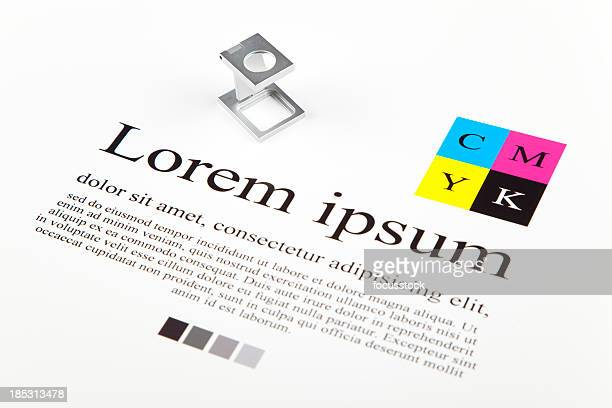 CMYK color guide and lorem ipsum text