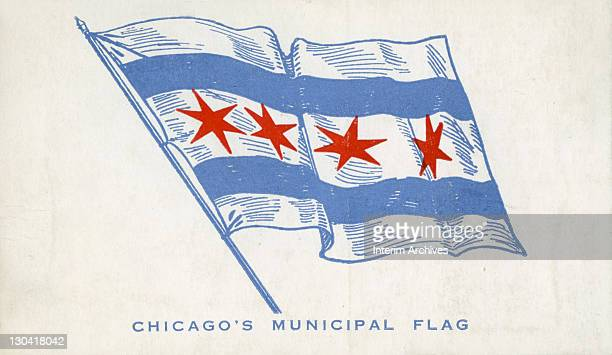 Color illustration depicting the municipal flag of the city of Chicago with two horizontal blue stripes and four red sixpointed stars on a field of...