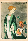 Color illustration from an issue of French magazine 'Le Rire' depicts Italian actress Eleonora Duse as flower bouquets are tossed around her 1910