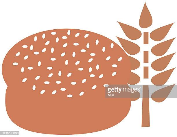 Color illustration of hamburger bun and shock of wheat