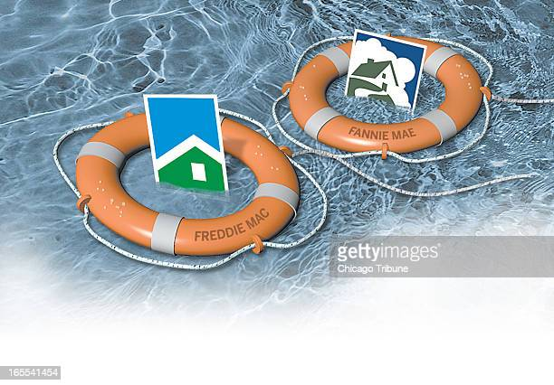 color illustration of two life preservers saving the logos of mortgage buyers Freddie Mac and Fannie Mae