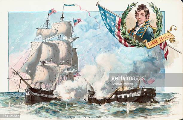 Color illustration of victorious Captain Isaac Hull and the defeat of HMS Guerriere by the USS Constitution War of 1812 USA August 19th 1812