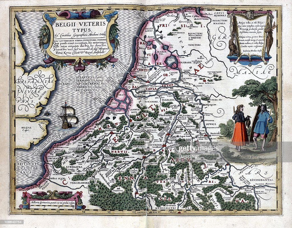Color illustration shows a map of Belgium 1622 The map is from – Map of Belgium and Surrounding Areas
