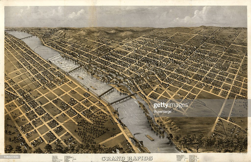 Color illustration shows an elevated 'bird's eye' view of Grand Rapids Michigan and the Grand River 1868