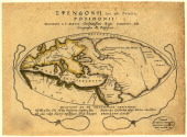 Color illustration shows depicts Europe and North Africa on either side of the Mediterranean Sea along with a large section of Asia 100 BCE