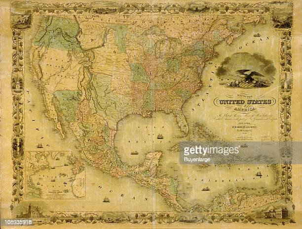 Color illustration shows the United States of America along with 'the British Provinces Mexico the West Indies and Central America with part of New...