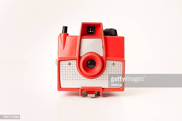 Color Image of Vintage Red Camera, on White Background