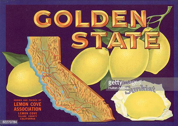 Color lithograph fruit box label for Golden State lemons shows a map of California with a circle around Lemon Cove in Tulare County the map is...