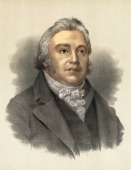Color lithograph of English poet and critic Samuel Taylor Coleridge late 18th or early 19th century