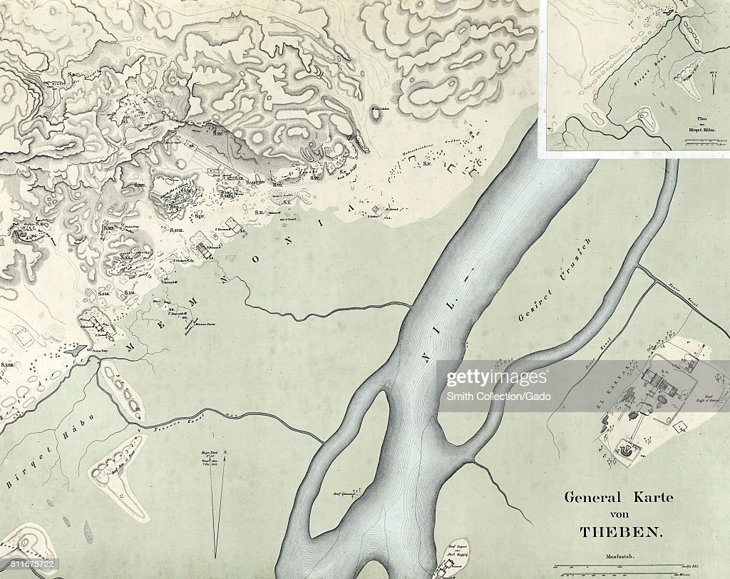 General Map Of Thebes Pictures Getty Images - Map of egypt thebes