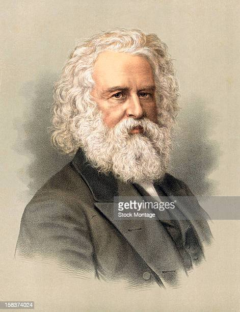 color lithograph portrait of american poet henry wadsworth longfellow mid to late 19th century