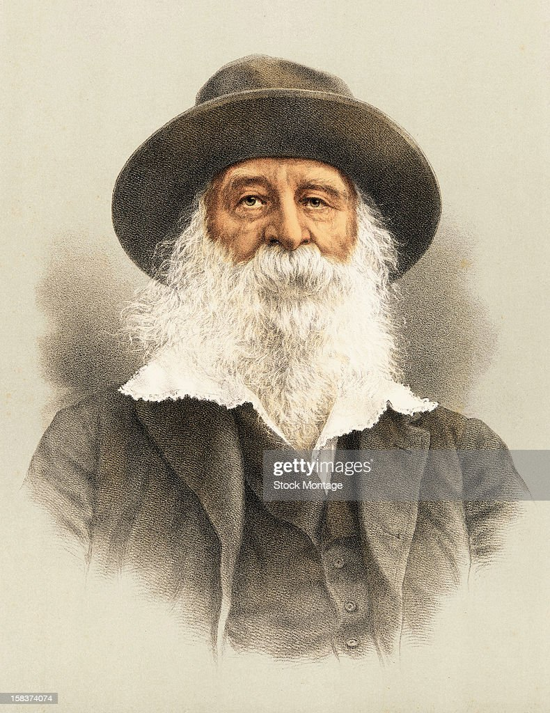Color lithograph portrait of American poet Walt Whitman (1819 - 1892), late 19th century.