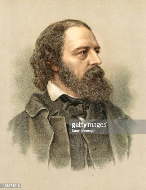 Color lithograph portrait of English poet Alfred Lord Tennyson mid to late 19th century