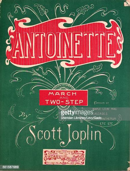 Color lithograph sheet music cover image of 'Antoinette March and TwoStep' by Scott Joplin St Louis MO 1906