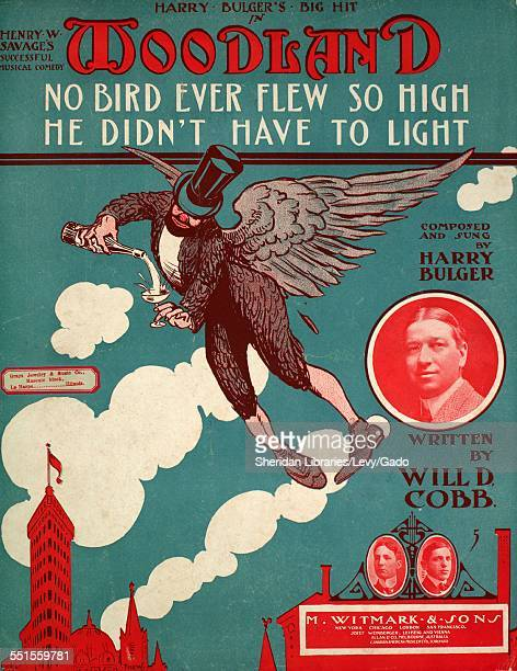 Color lithograph sheet music cover image of ' No Bird Ever Flew So High He Didn't Have to Light' by Harry Bulger and Will D Cobb with lithographic or...
