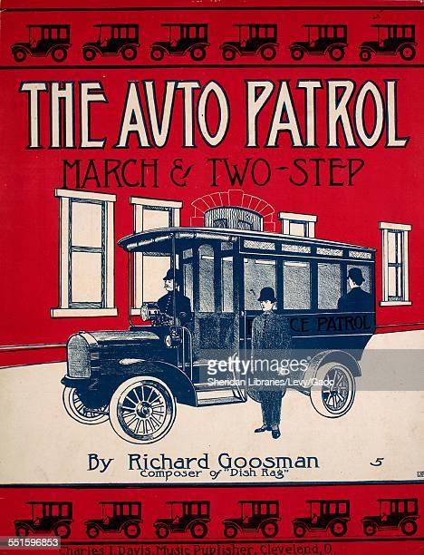 Color lithograph sheet music cover image of 'The Auto Patrol March and TwoStep' by Richard Goosman Cleveland Ohio 1908