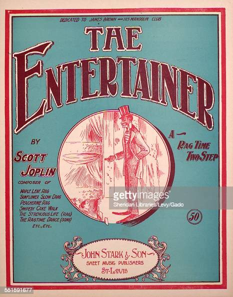 Color lithograph sheet music cover image of 'The Entertainer A Rag Time Two Step' by Scott Joplin Saint Louis Missouri 1902