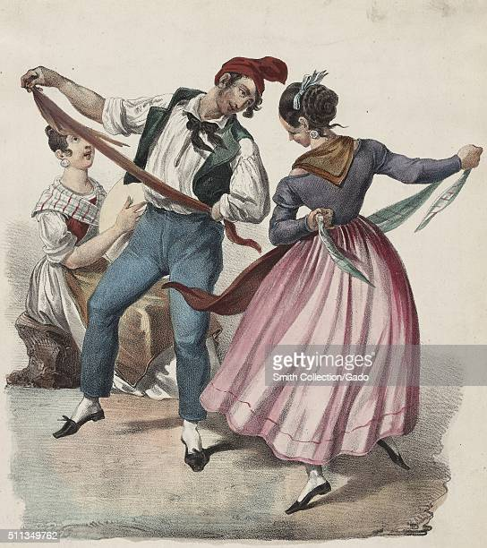 A color lithograph that depicts three people a man and woman are performing a dance in the foreground they are wearing traditional clothing from the...