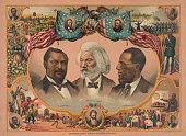 Color lithograph with portraits of Blanche Kelso Bruce Frederick Douglass and Hiram Revels 1881 J Hoover