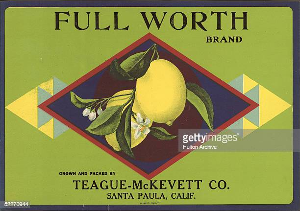 Color lithographed fruit box label shows a pair of lemons in a diamond shape attached to a branch with leaves and blossoms 1920s Made for the...
