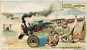 A color lithographed Victorian era trade card advertising the strength of Belding thread with an antiIndian cartoon Milwaukee Wisconsin